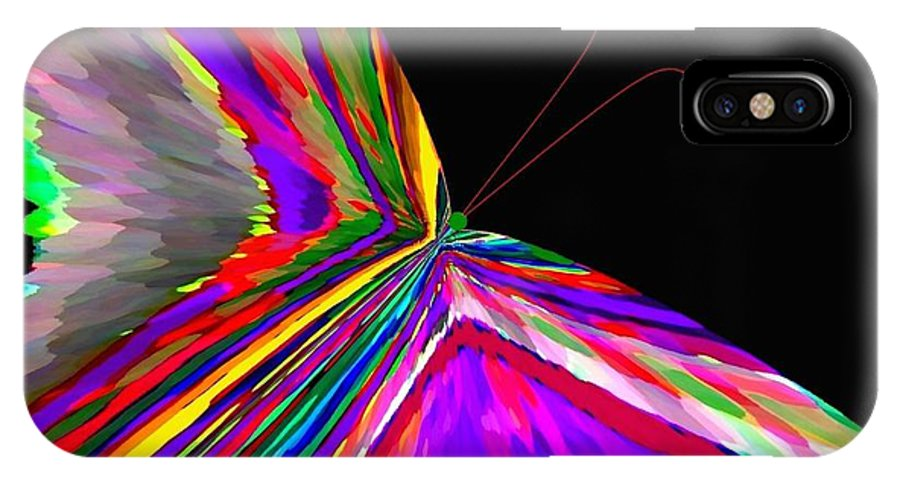 Abstract IPhone X Case featuring the digital art Tropical Butterfly by Will Borden