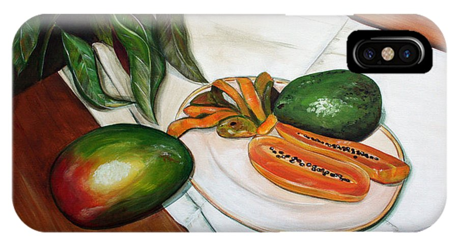Still Life IPhone X Case featuring the painting Tropical Fruit by Dorothy Riley
