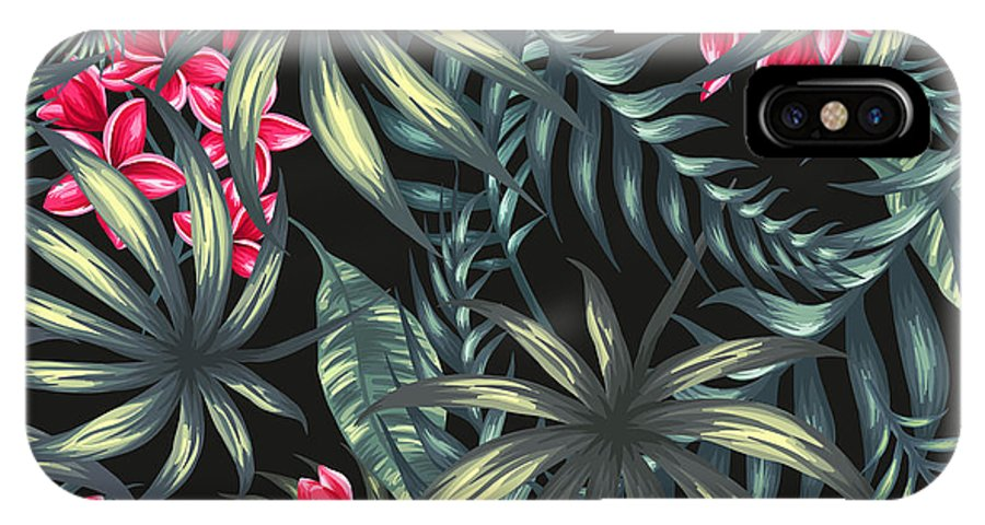 Tropical IPhone X Case featuring the painting Tropical Leaf Pattern by Stanley Wong