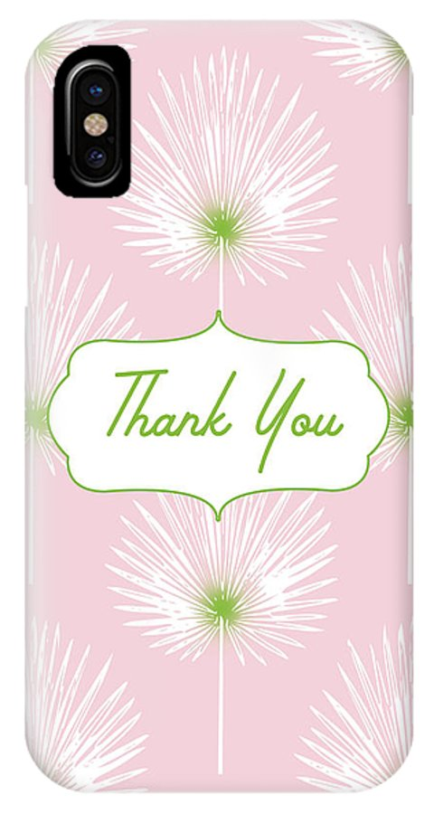 Thank You IPhone X Case featuring the mixed media Tropical Leaf Thank You- Art By Linda Woods by Linda Woods