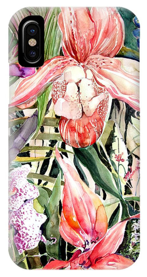 Watercolor IPhone X Case featuring the painting Tropical Orchids by Mindy Newman