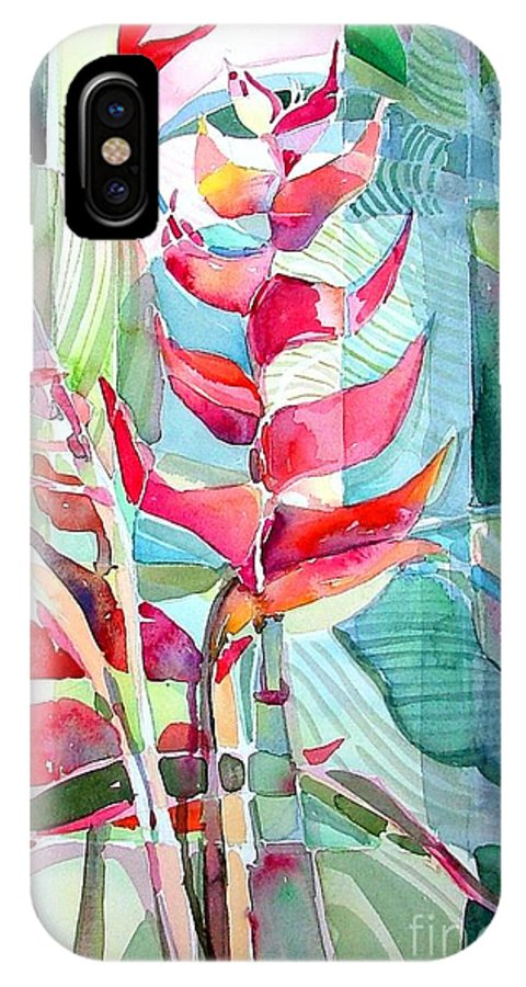 Landscape IPhone X Case featuring the painting Tropicana Red by Mindy Newman