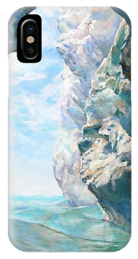 Landscape Paintings IPhone X Case featuring the painting Trouee 2 by Muriel Dolemieux