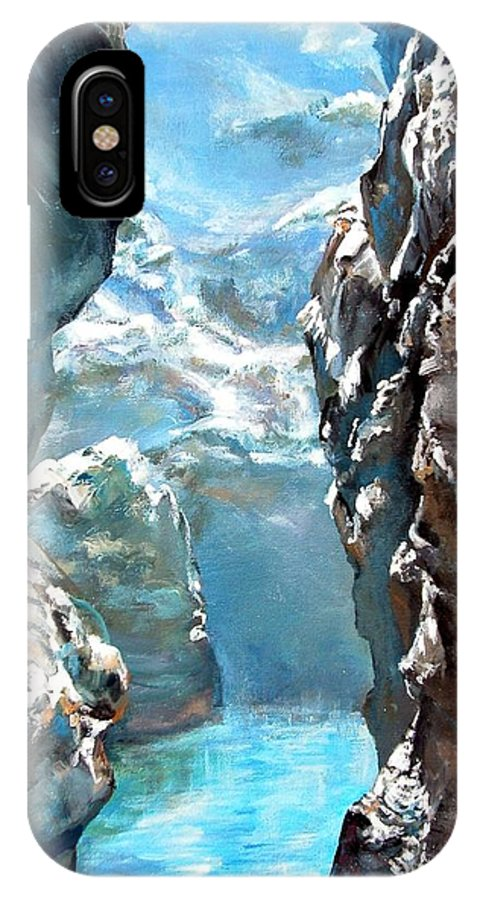 Landscape IPhone X Case featuring the painting Trouee 3 by Muriel Dolemieux