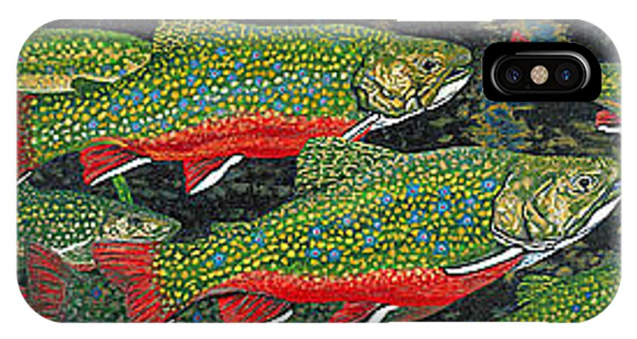 Art IPhone X Case featuring the painting Trout Art Brook Trout Fish Artwork Giclee Wildlife Underwater by Baslee Troutman