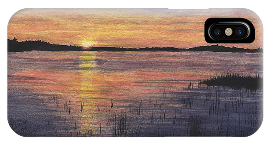 Landscape IPhone X Case featuring the painting Trout Lake Sunset II by Lynn Quinn