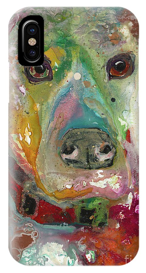 Dog IPhone X Case featuring the painting True Hue by Kasha Ritter