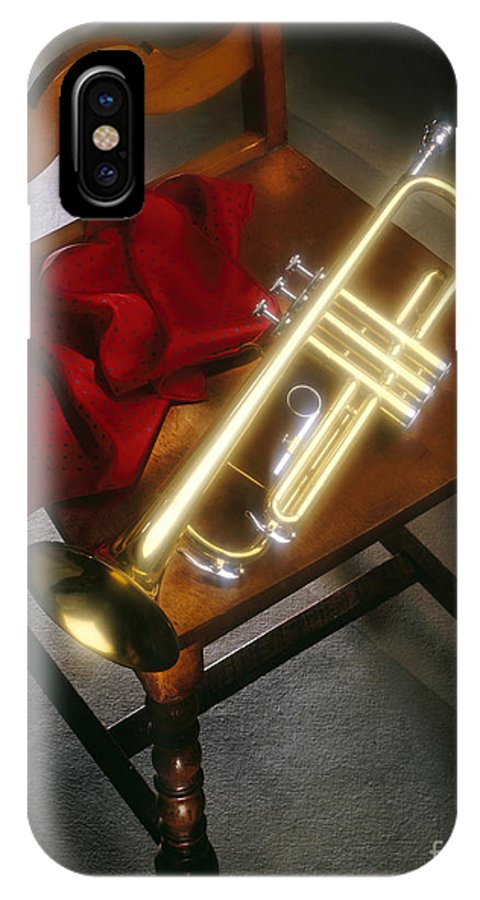 Trumpet IPhone X Case featuring the photograph Trumpet On Chair by Tony Cordoza