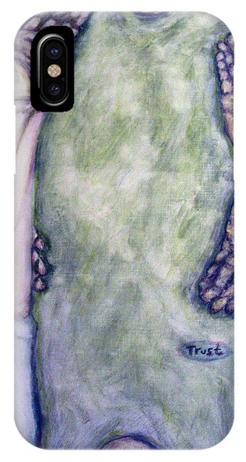 Evocative Expressionism IPhone X Case featuring the painting Trust by Stephen Mead