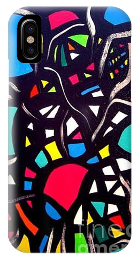 Blue IPhone X Case featuring the painting Try To Look Inside by Safak Tulga