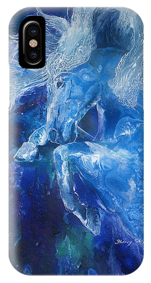 Horse IPhone X Case featuring the painting Tsunami Water Horse by Sherry Shipley