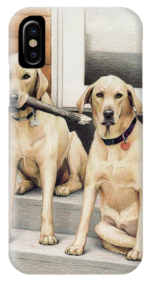 Dogs IPhone X Case featuring the drawing Tucker And Lily by Amy S Turner