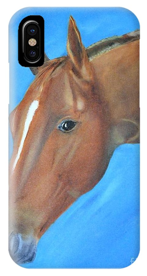 Horse IPhone X Case featuring the painting Tuesday's Scotch Time by Mendy Pedersen