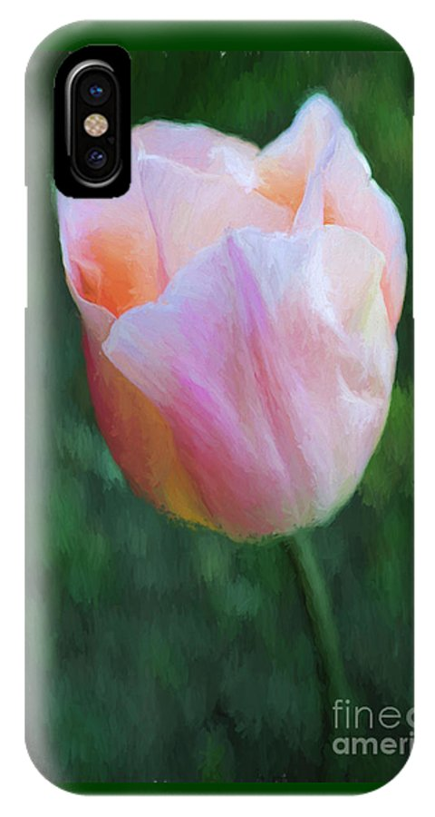 Tulip IPhone X / XS Case featuring the digital art Tulip Apricot Beauty by Liz Leyden