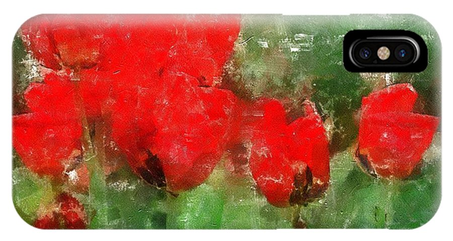 Flowers IPhone X Case featuring the painting Tulip Decay Deconstructed by RC DeWinter