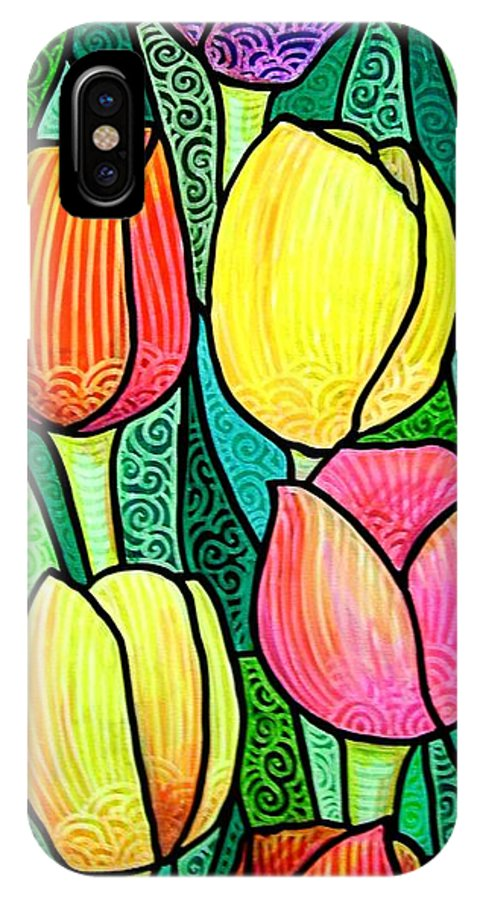 Tulips IPhone X Case featuring the painting Tulip Expo by Jim Harris
