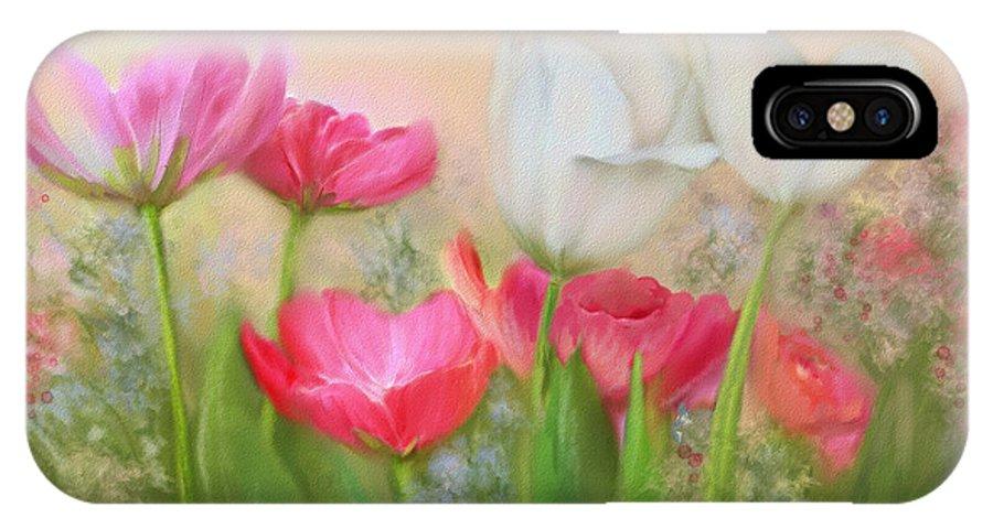 Tulips IPhone X Case featuring the painting Tulip Garden by Bonnie Willis