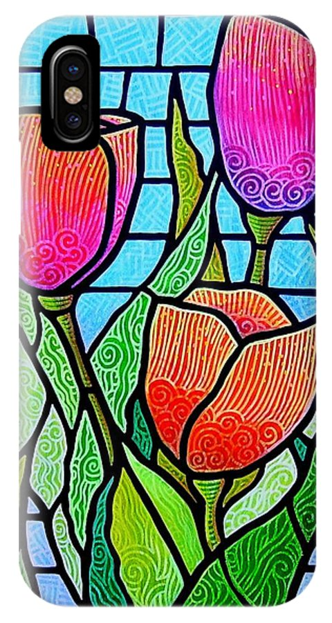 Tulips IPhone Case featuring the painting Tulip Garden by Jim Harris