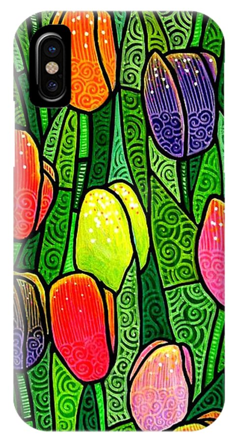 Tulips IPhone X Case featuring the painting Tulip Glory by Jim Harris