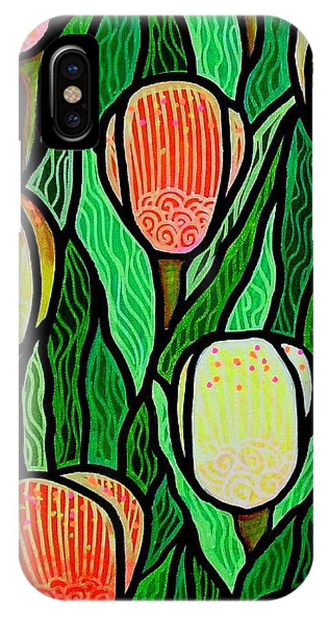 Tulips IPhone X Case featuring the painting Tulip Joy 2 by Jim Harris