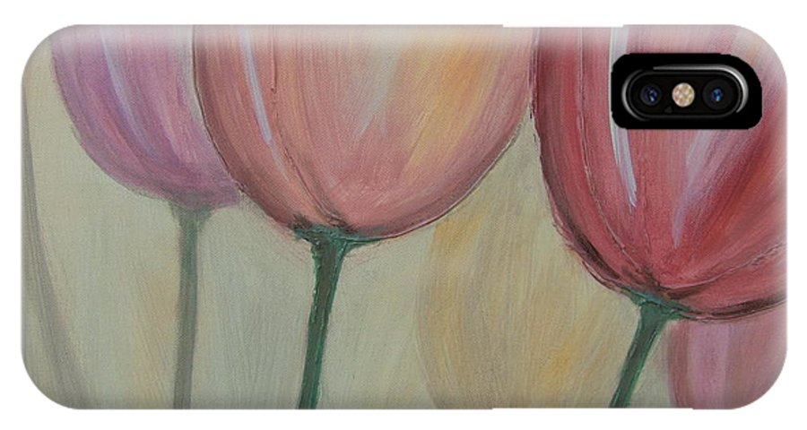 Tulips IPhone X Case featuring the painting Tulip Series 1 by Anita Burgermeister