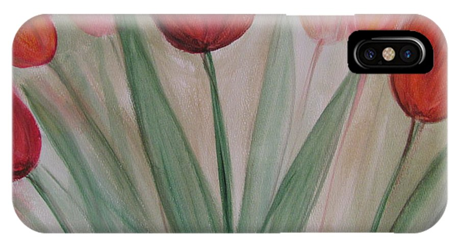 Tulips IPhone X Case featuring the painting Tulip Series 4 by Anita Burgermeister
