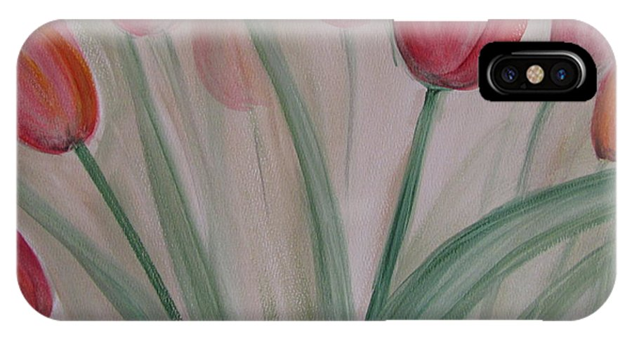 Tulips IPhone X Case featuring the painting Tulip Series 5 by Anita Burgermeister