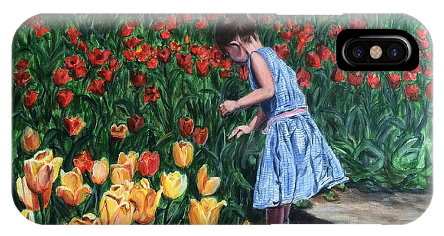 Tulips IPhone X Case featuring the painting Tulip Time by Bonnie Peacher
