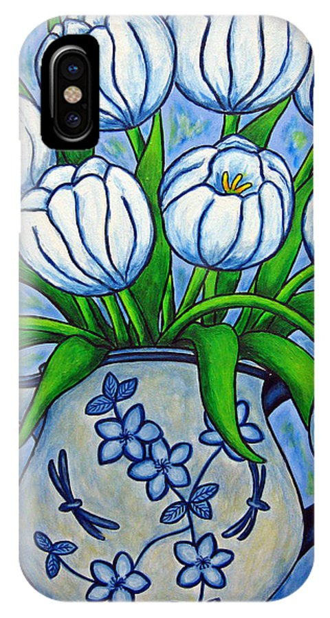Flower IPhone X Case featuring the painting Tulip Tranquility by Lisa Lorenz