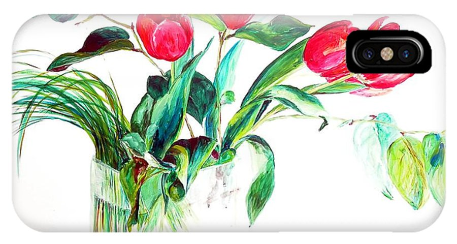 Flower IPhone Case featuring the painting Tulipes by Muriel Dolemieux