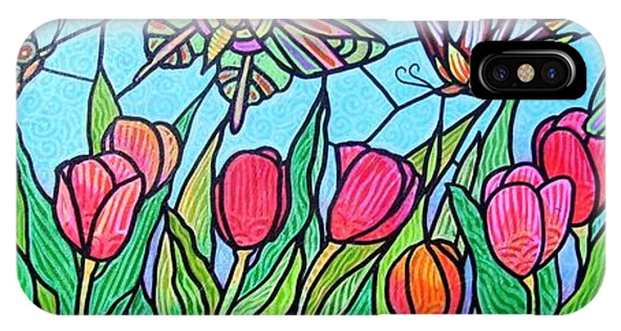 Spring IPhone Case featuring the painting Tulips And Butterflies by Jim Harris