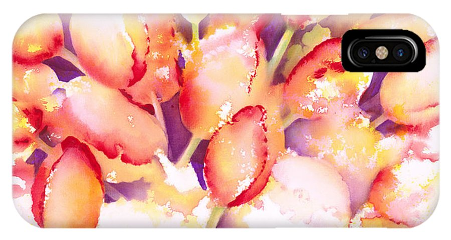 Flower IPhone X Case featuring the painting Tulips Are People Iv by Jerome Lawrence