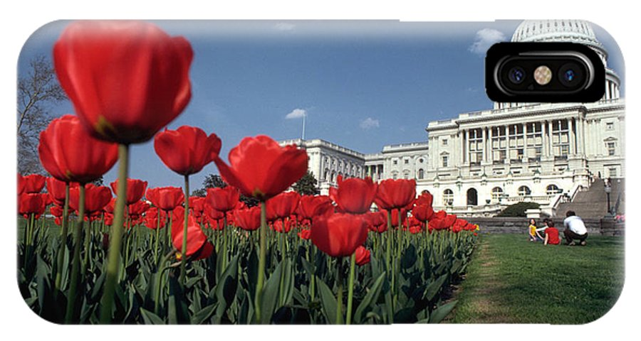 Flowers IPhone X Case featuring the photograph Tulips At The Capitol by Carl Purcell