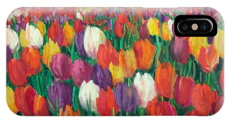 Flowers IPhone X Case featuring the painting Tulips Everywhere by Sally Seago