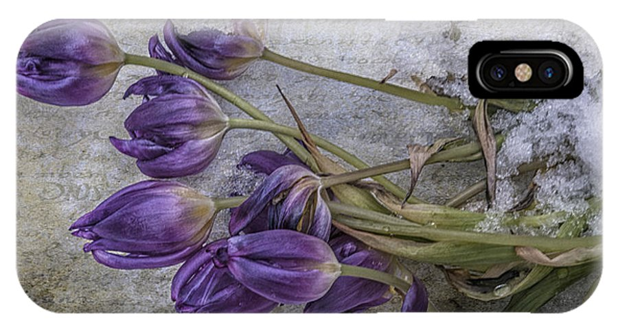 Purple IPhone X Case featuring the mixed media Tulips Frozen by Terry Rowe