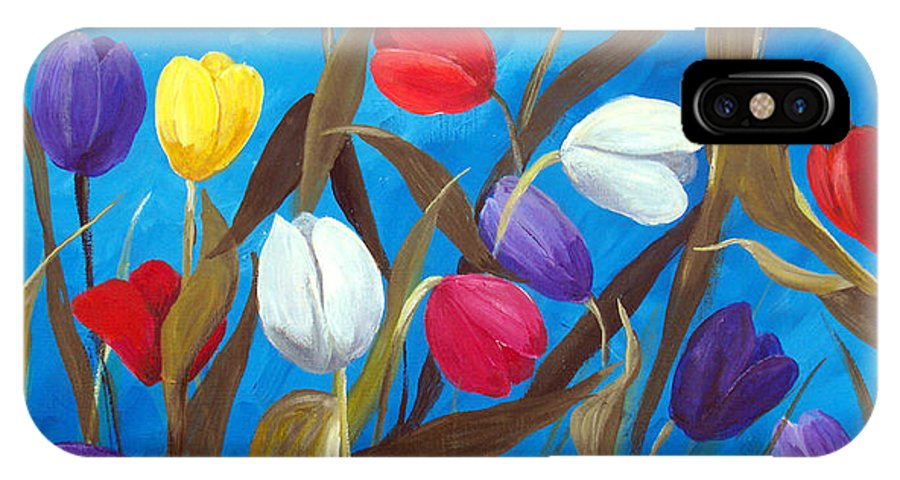 Tulips IPhone Case featuring the painting Tulips Galore II by Ruth Palmer