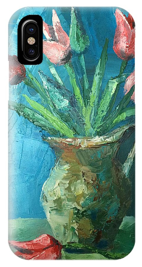 Tulips IPhone X Case featuring the painting Tulips by Georgescu George