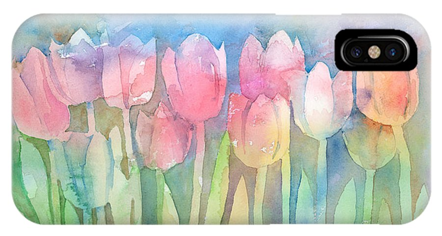 Tulip IPhone X Case featuring the painting Tulips In A Row by Arline Wagner