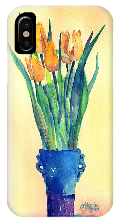Tulip IPhone X Case featuring the painting Tulips In A Vase by Arline Wagner
