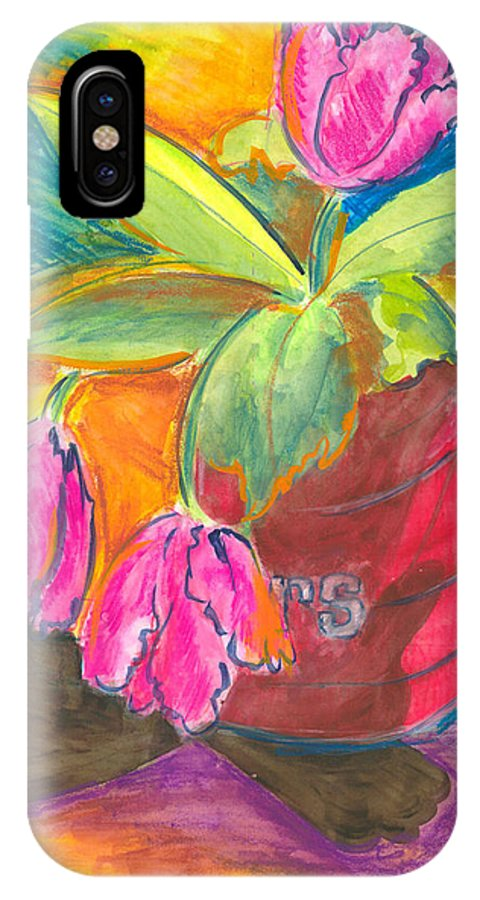 Flowers IPhone X Case featuring the painting Tulips In Can by Jean Blackmer