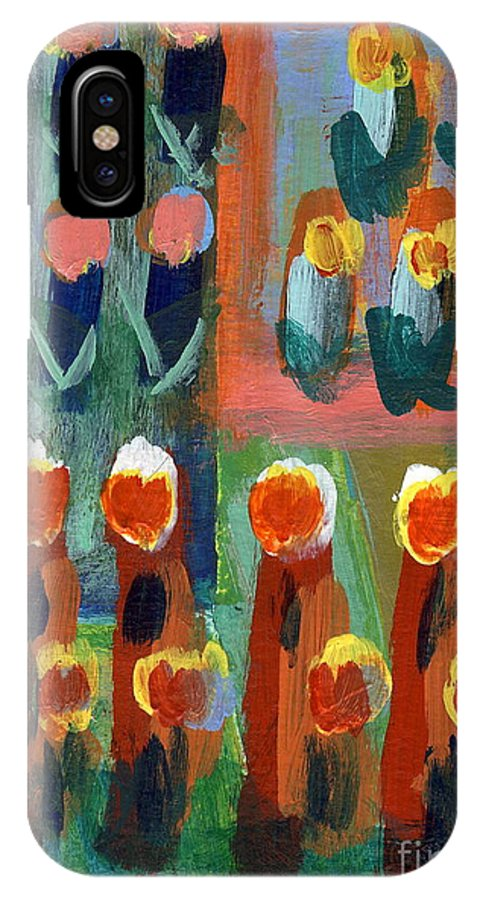 Tulips IPhone X Case featuring the painting Tulips by Jan Daniels