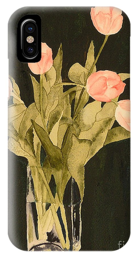 Tulips IPhone X / XS Case featuring the painting Tulips On Velvet by Louise Magno