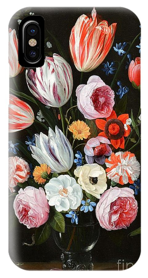 Jan Van Kessel The Elder (antwerp 1626-1679) IPhone X Case featuring the painting Tulips Roses Peonies by MotionAge Designs