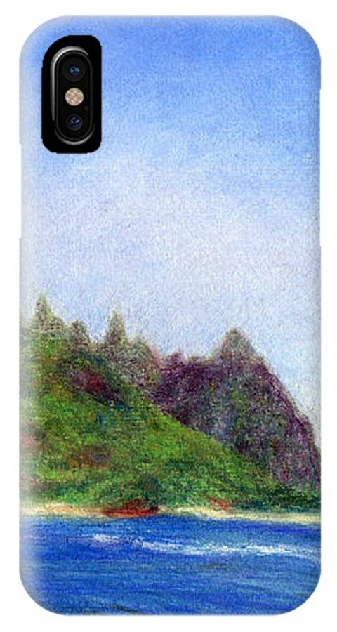 Rainbow Colors Pastel IPhone Case featuring the painting Tunnels Beach View by Kenneth Grzesik