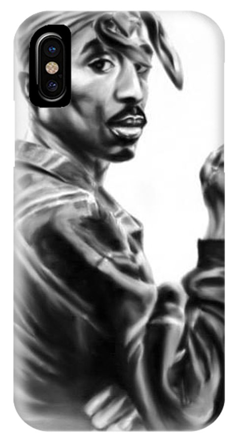 IPhone X Case featuring the painting Tupac Shakur by Darryl Matthews