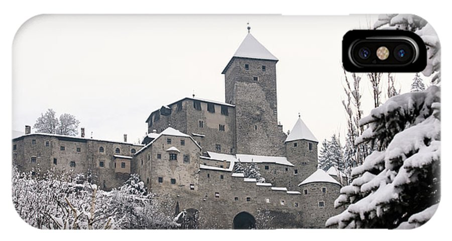 Castle IPhone X Case featuring the photograph Tures Castle In The Snow by Nicola Simeoni