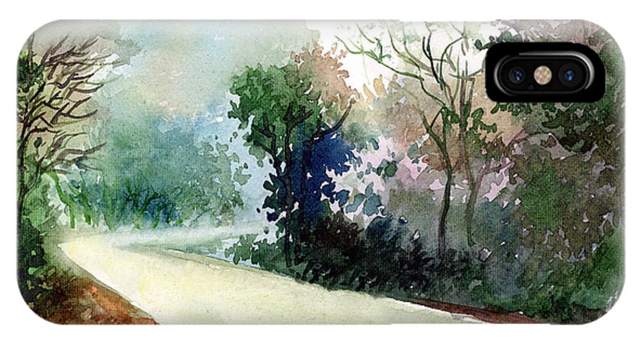 Landscape Water Color Nature Greenery Light Pathway IPhone X Case featuring the painting Turn Right by Anil Nene