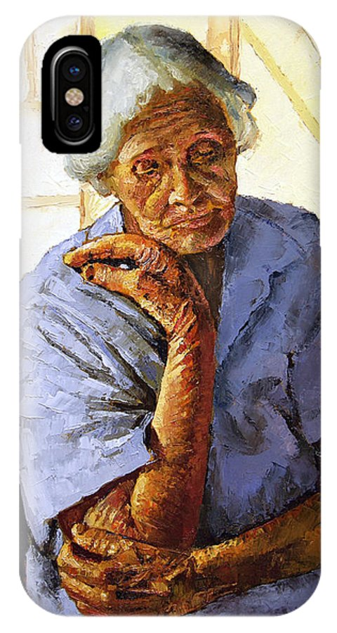 Old Woman IPhone X Case featuring the painting Turning Inward by John Lautermilch