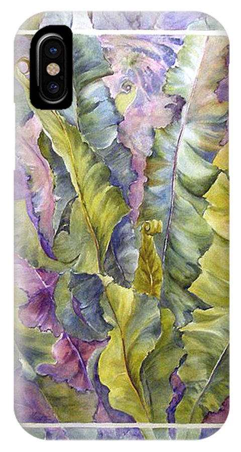 Ferns;floral; IPhone X Case featuring the painting Turns Of Ferns by Lois Mountz