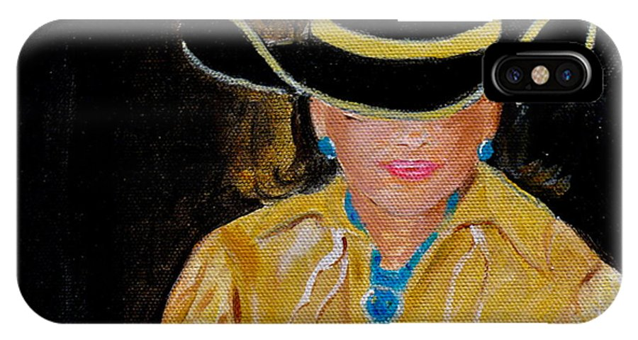 Turquiose IPhone X Case featuring the painting Turquoise Lady 3 by Donna Steward